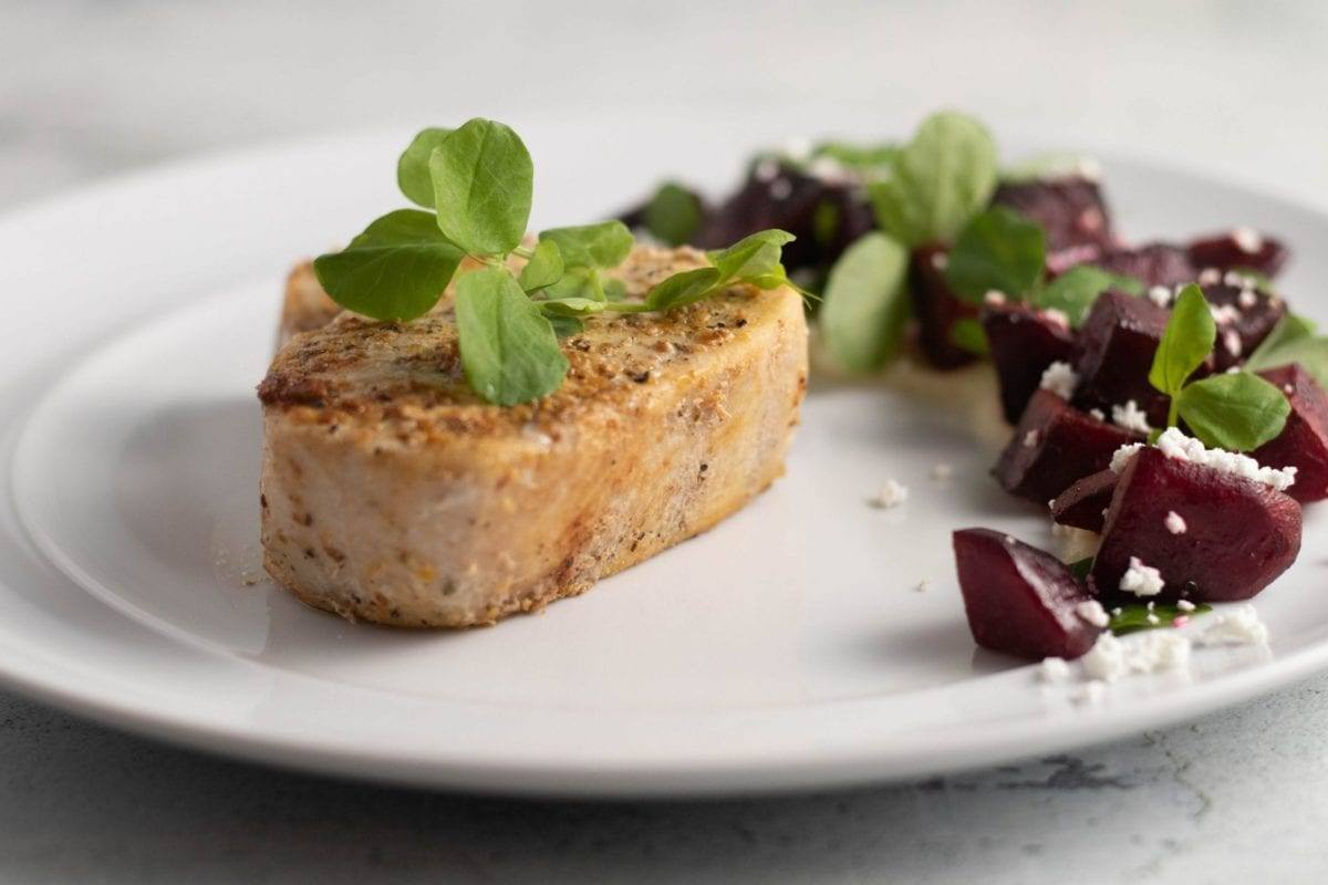 Swordfish w/ Roasted Beets on top a Parsnip Puree