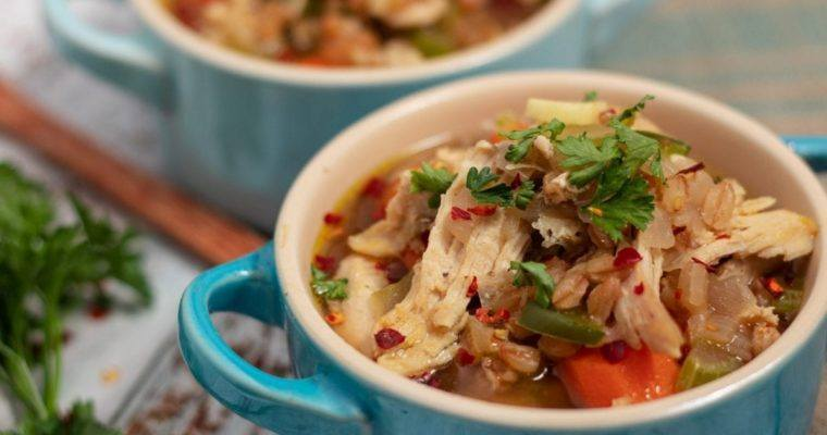 Chicken and Farro Soup with Vegetables Recipe