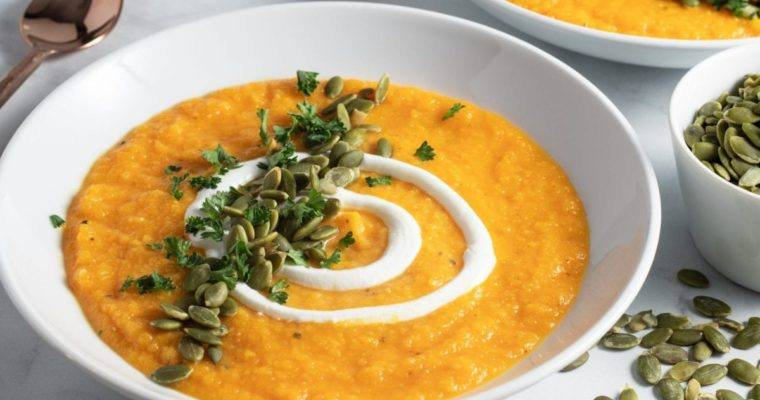 Easy, Roasted Butternut Squash Soup, Creamy and Delicious!