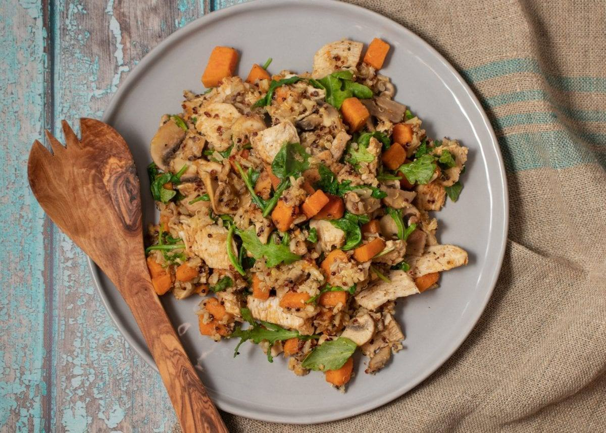 Sweet Potato with Dirty Rice and Chicken