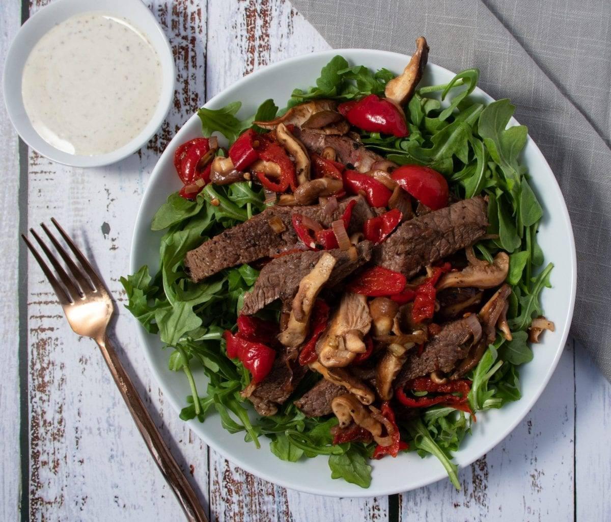 Mushroom and Cherry Pepper Steak Salad