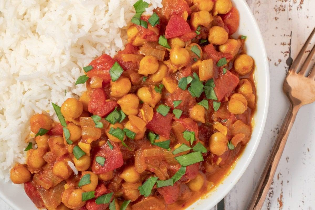 Spiced Chickpeas with Stewed Tomatoes