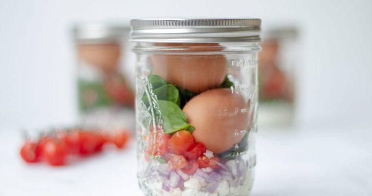 Greek Eggs in a Mason Jar