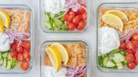 Easy Greek Salmon Bowl Meal Prep Counting Macros