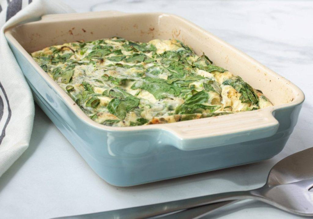 spinach and mozzarella egg casserole meal prep macro counting