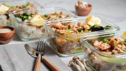 Chicken bok choy and beach mushrooms meal prep meal planning counting macros