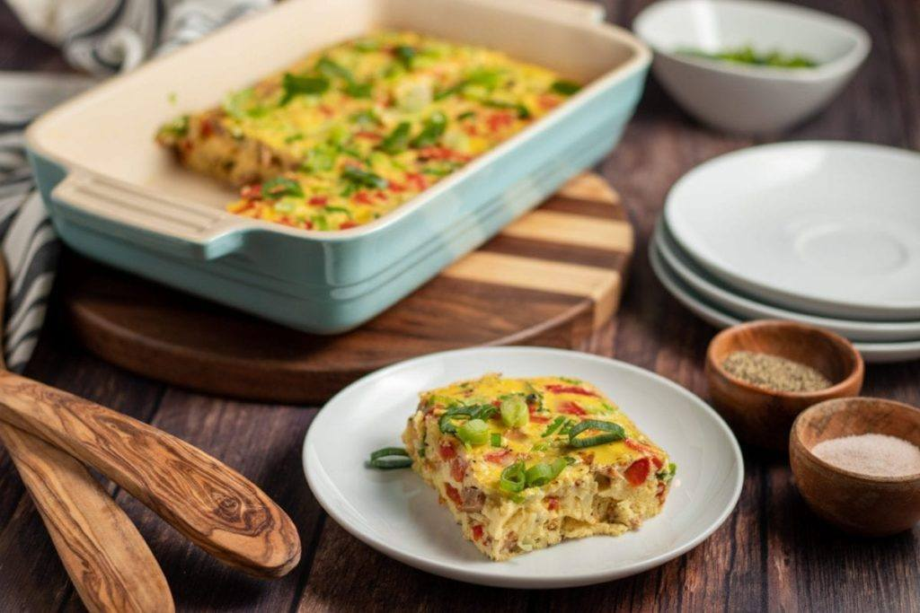 Roasted Red Pepper Breakfast Casserole Meal Planning Meal Prep Counting Macros