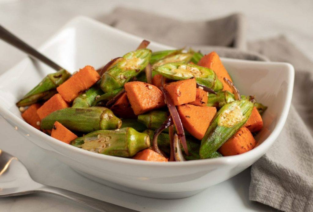 Sweet Potato and Okra the perfect Side dish