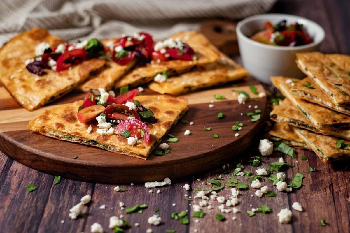 Greek Breakfast Quesadilla w/Spinach & Mushroom