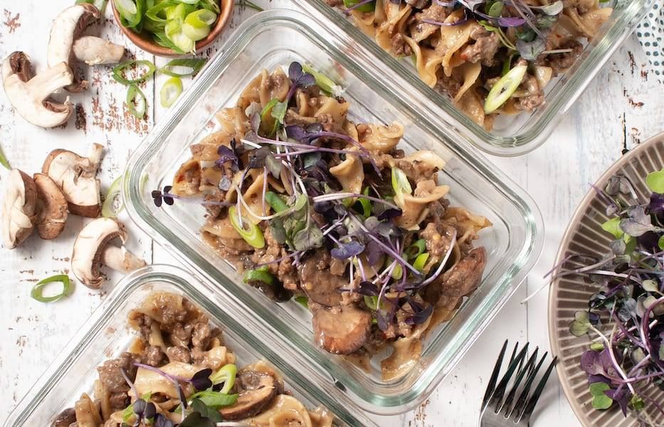 One Pot Meal Beef Stroganoff in meal prep containers Reheating food Guidelines for Healthy Recipes