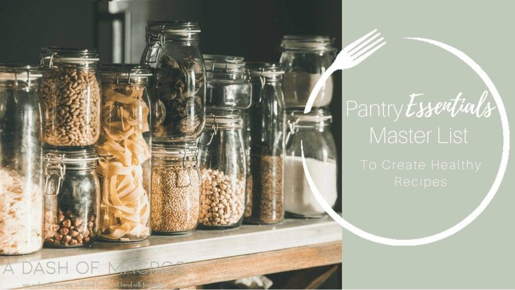 Pantry Staples Master List Thumbnail Image: Bean and Rice in Jars on a Pantry Shelf