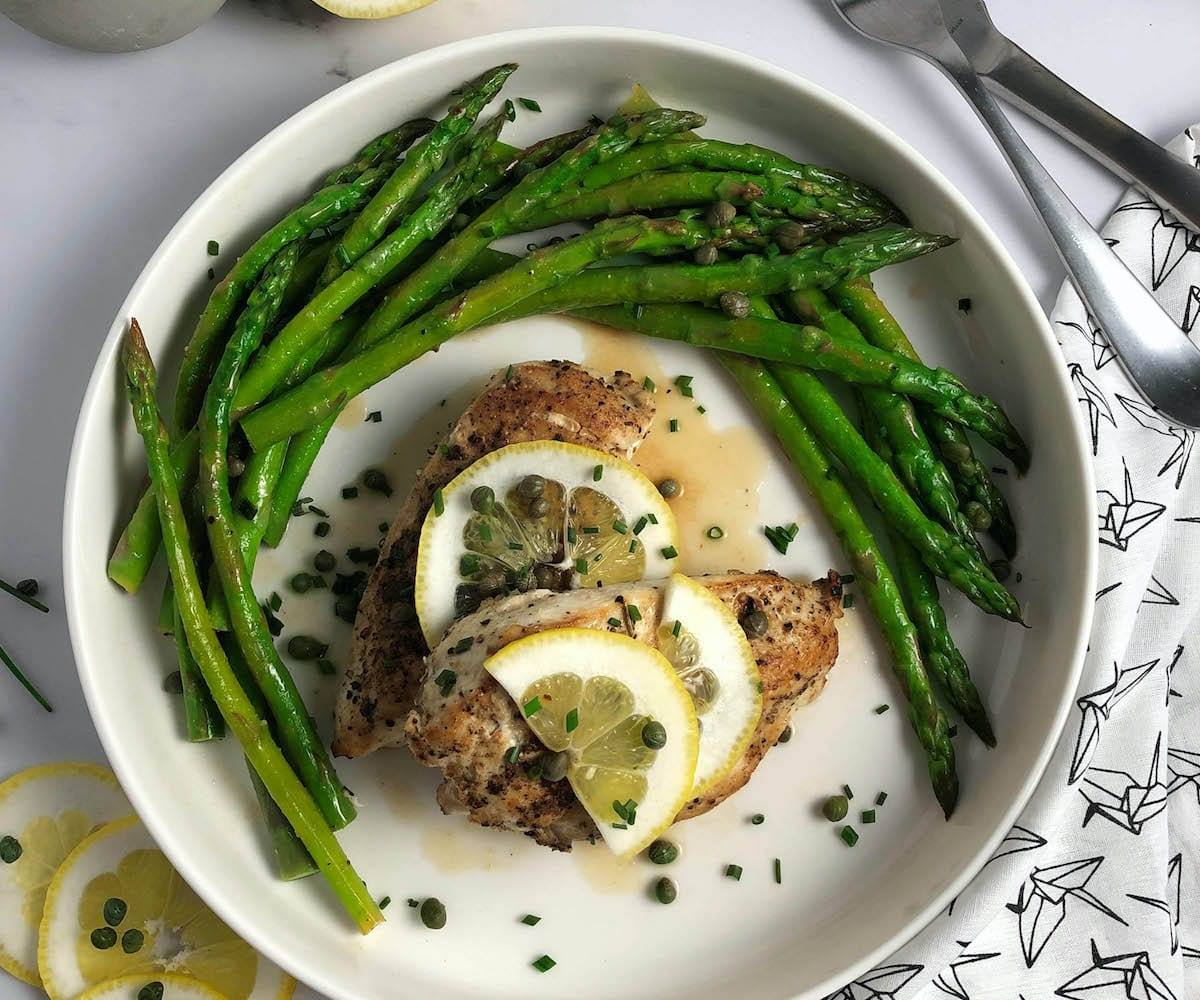 Chicken and Asparagus with Lemon Caper Sauce